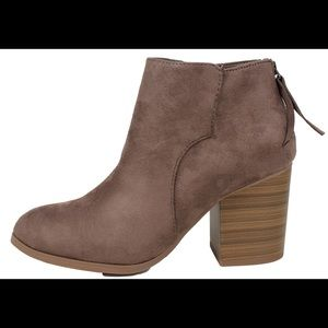 Shoes - Taupe almond toe back tassel Stacked heel boot